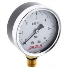 Манометр радиальный KOER KM.610R D=63мм (0-6 bar) 1/4'' (KR2903)