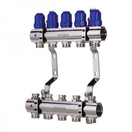 """Коллекторный блок с термостатич. клапанами KOER KR.1100-05 1""""x5 WAYS (KR2631)"""