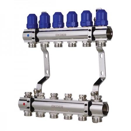 """Коллекторный блок с термостатическими клапанами KOER KR.1100-06 1""""x6 WAYS (KR2632)"""