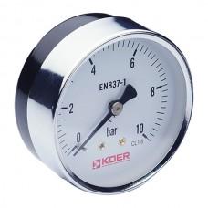 Манометр аксиальный (KOER KM.611A) (0-10 bar), D=63мм, 1/4'' (KR0212)
