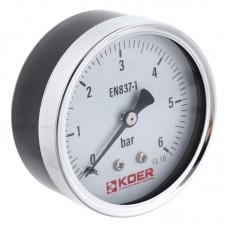 Манометр аксиальный KOER KM.611A D=63мм (0-6 bar) 1/4'' (KR2901)