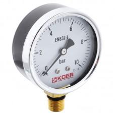 Манометр радиальный KOER KM.610R D=63мм (0-10 bar) 1/4'' (KR2902)