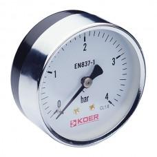 Манометр аксиальный (KOER KM.611A) (0-4 bar), D=63мм, 1/4'' (KR0210)