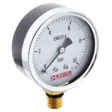 Манометр радиальный (KOER KM.610R) (0-10 bar), D=63мм, 1/4'' (KR0205)