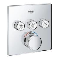 Внешняя часть термостатического смесителя для ванны Grohe Grohtherm SmartControl 29126000 на три потребителя