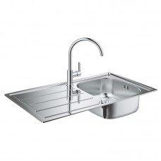 Набор Grohe мойка кухонная K200 31562SD0 + смеситель BauEdge 31367000