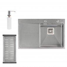 Набор 3 в 1 Qtap кухонная мойка DK7850R 3.0/1.2 мм Satin + сушилка + дозатор для моющего средства