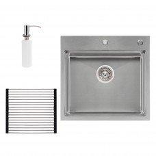 Набор 3 в 1 Qtap кухонная мойка DH5050 3.0/1.2 мм Satin + сушилка + дозатор для моющего средства