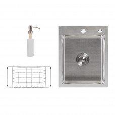Набор 3 в 1 Lidz кухонная мойка H6050 3.0/0.8 мм Brush + сушилка + дозатор для моющего средства