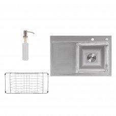 Набор 3 в 1 Lidz кухонная мойка H7851R 3.0/0.8 мм Brush + сушилка + дозатор для моющего средства