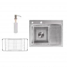 Набор 3 в 1 Lidz кухонная мойка H6350L 3.0/0.8 мм Brush + сушилка + дозатор для моющего средства