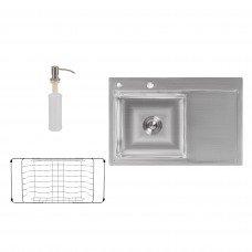 Набор 3 в 1 Lidz кухонная мойка H7851L 3.0/0.8 мм Brush + сушилка + дозатор для моющего средства
