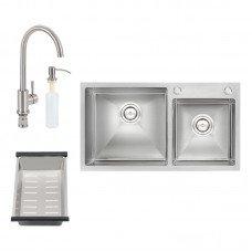 Набор 4 в 1 Qtap кухонная мойка S7843 Satin + смеситель + сушилка + дозатор для моющего средства